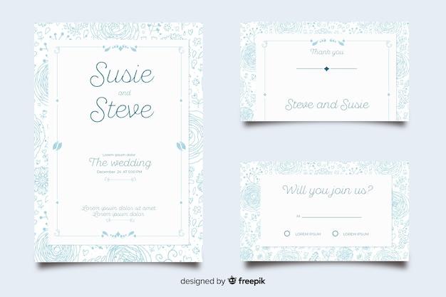 Colección de plantillas de material de papelería de boda en diseño plano vector gratuito