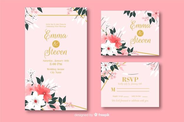 Colección de plantillas de material de papelería de boda vector gratuito