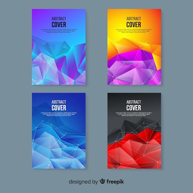 Colección de plantillas de portadas coloridas de tecnología vector gratuito
