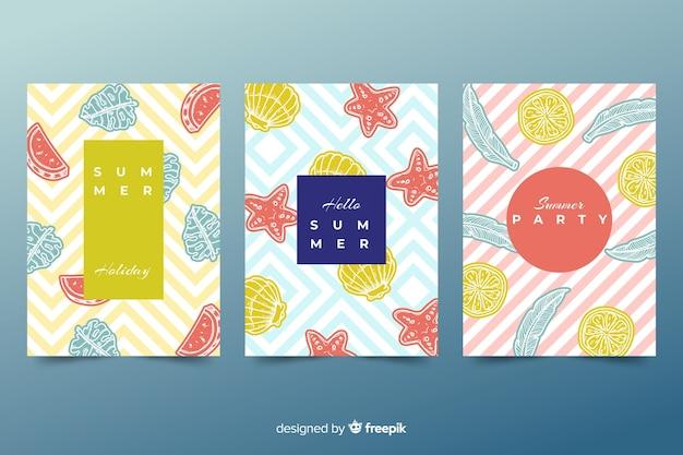 Colección de plantillas de portadas de verano abstractas vector gratuito