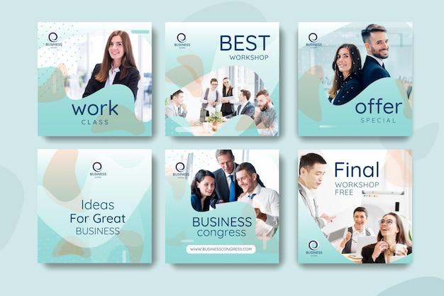 Colección de plantillas de publicaciones de redes sociales empresariales vector gratuito
