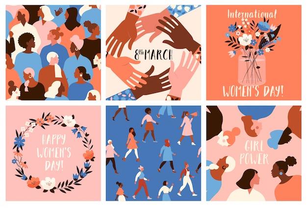 Colección de plantillas de tarjetas de felicitación con flores, activistas feministas y feliz día de la mujer. Vector Premium