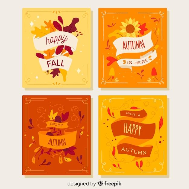 Colección de plantillas de tarjetas de otoño en diseño plano vector gratuito