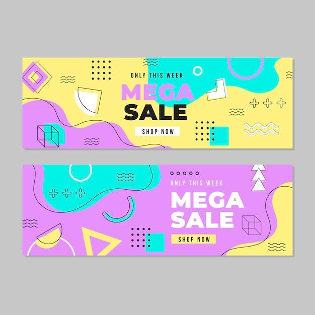 Colección de plantillas web de banner de mega venta vector gratuito