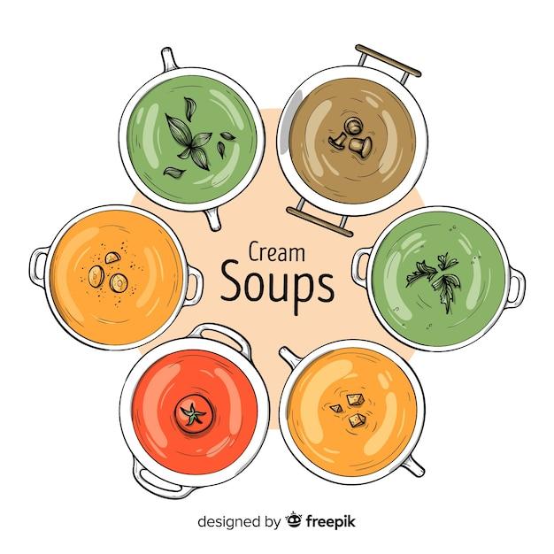 Colección de platos de comida dibujados a mano Vector Premium