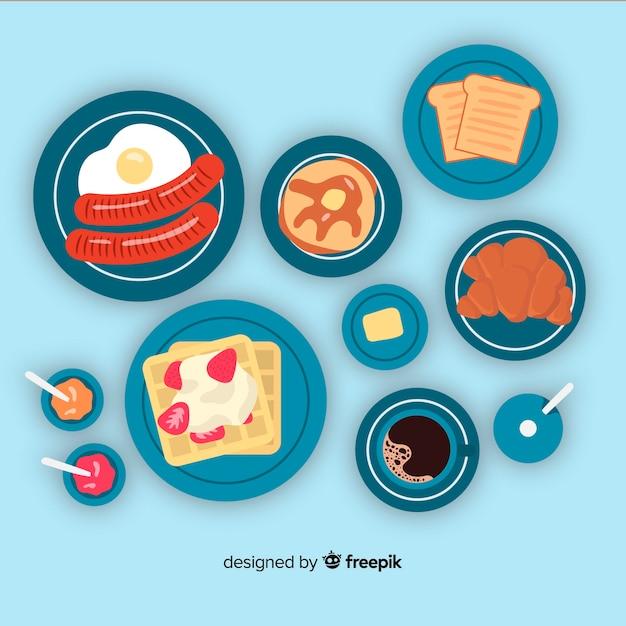 Colección de platos de comida dibujados a mano vector gratuito