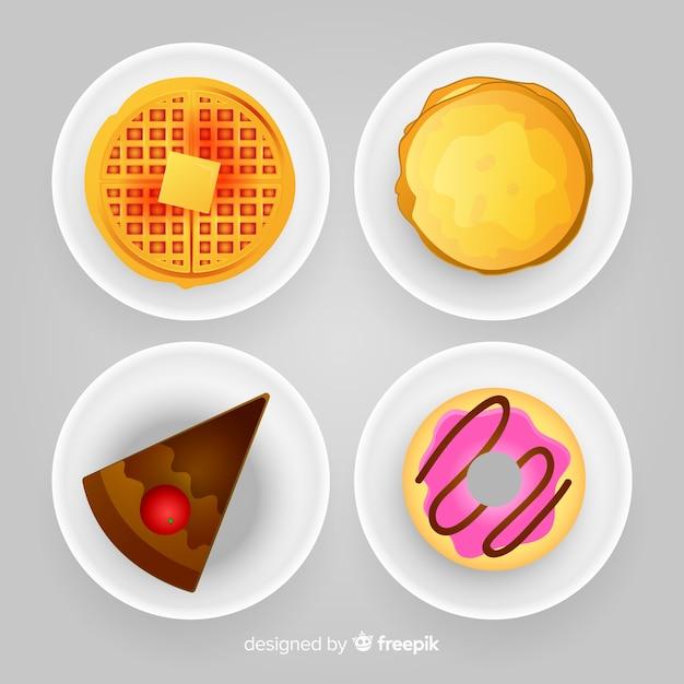 Colección de platos de comida realista vector gratuito