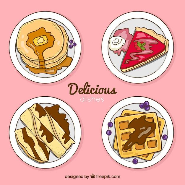 Colección de platos de comida vistos desde arriba vector gratuito