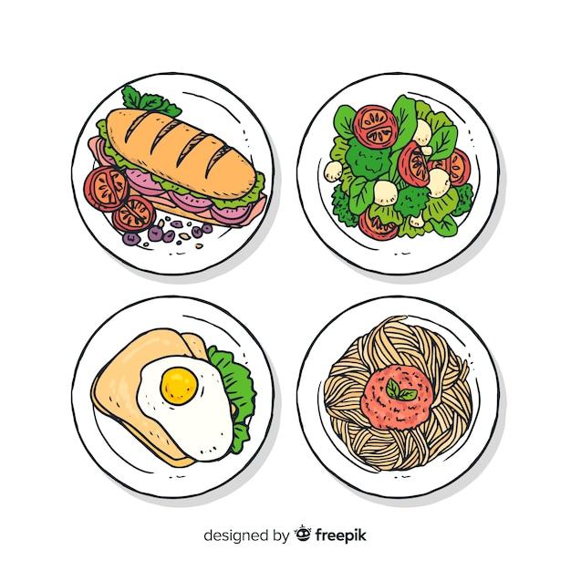 Colección de platos de comida vector gratuito