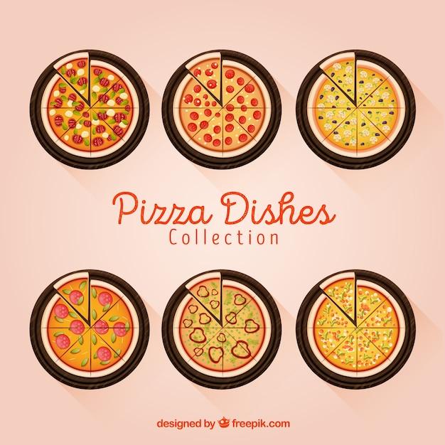 Colección de platos con pizzas en vista superior vector gratuito
