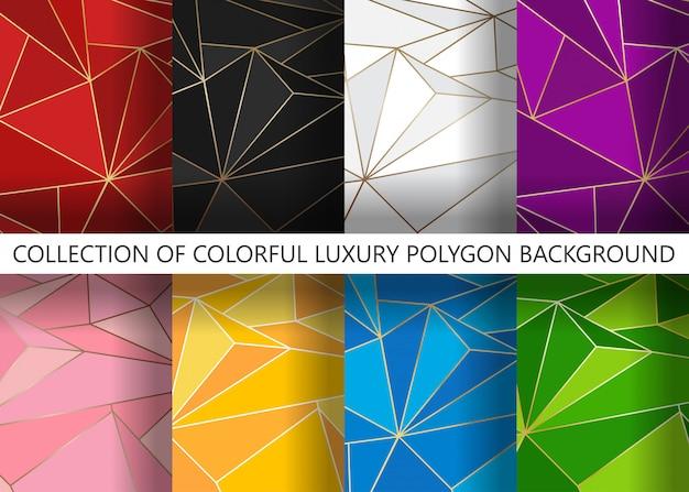 Colección de polígono de lujo colorido artístico geométrico con fondo de línea dorada Vector Premium