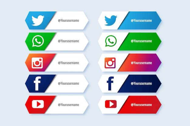 Colección popular de redes sociales en tercios inferiores vector gratuito