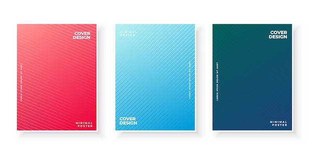 Colección de portada degradada con patrón de líneas vector gratuito