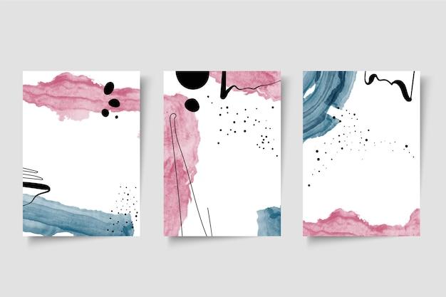 Colección de portadas de acuarela vector gratuito