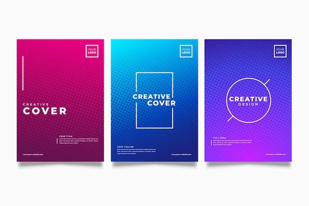 Colección de portadas coloridas de degradado de semitono Vector Premium