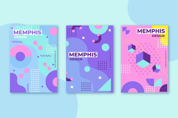 Colección de portadas de diseño de memphis vector gratuito