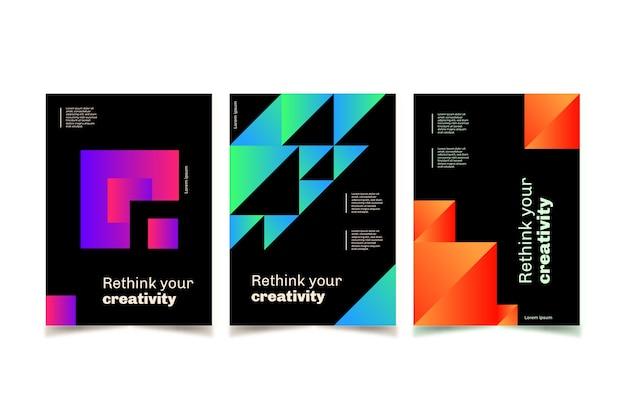Colección de portadas de formas geométricas gradientes vector gratuito