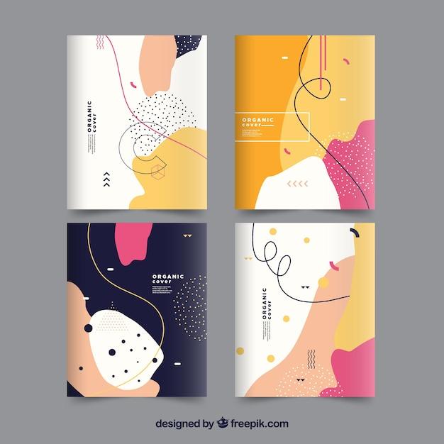 Colección de portadas con formas orgánicas vector gratuito