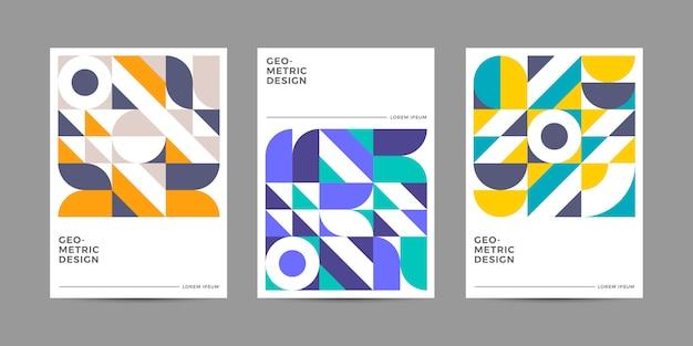 Colección de portadas geométricas retro Vector Premium