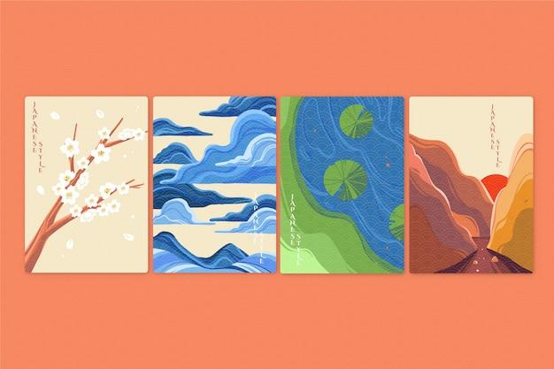 Colección de portadas japonesas minimalistas de paisajes vector gratuito