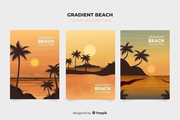 Colección de portadas de playa con degradado vector gratuito
