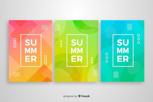Colección de portadas de verano abstractas vector gratuito