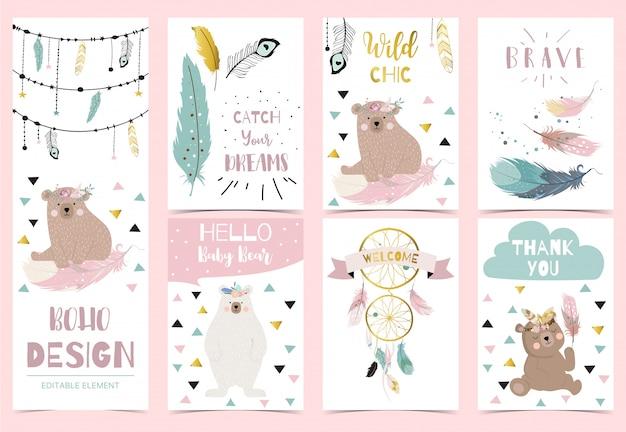 Colección de postales boho con pluma Vector Premium