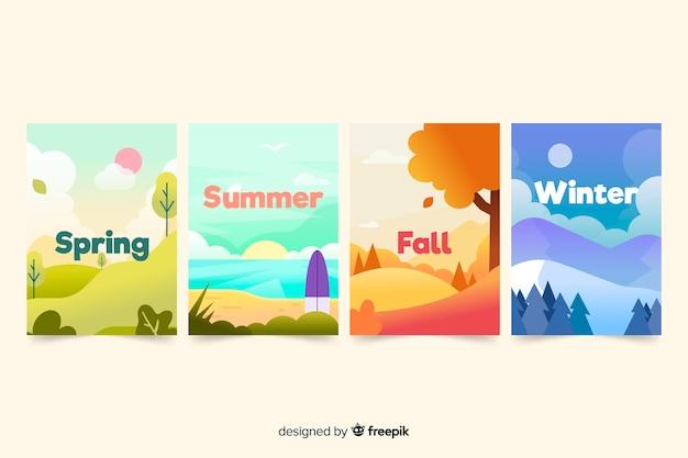 Colección de póster estacionales dibujados a mano vector gratuito