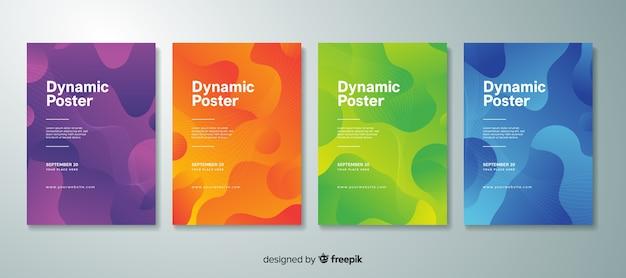 Colección de póster con formas dinámicas vector gratuito