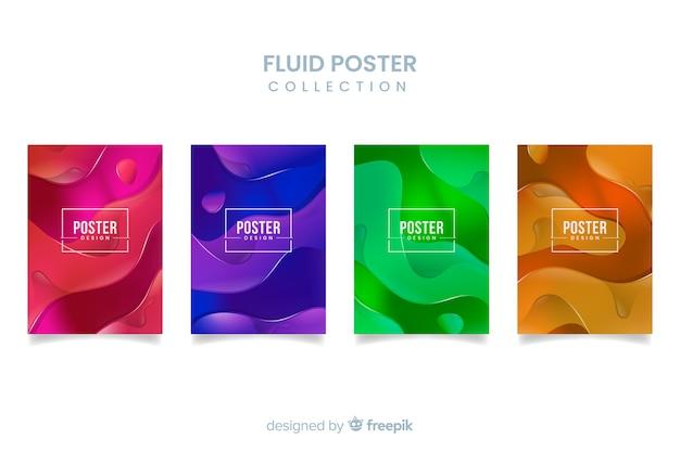Colección de poster de formas fluidas vector gratuito