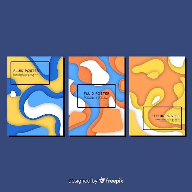 Colección de poster con formas fluidas vector gratuito