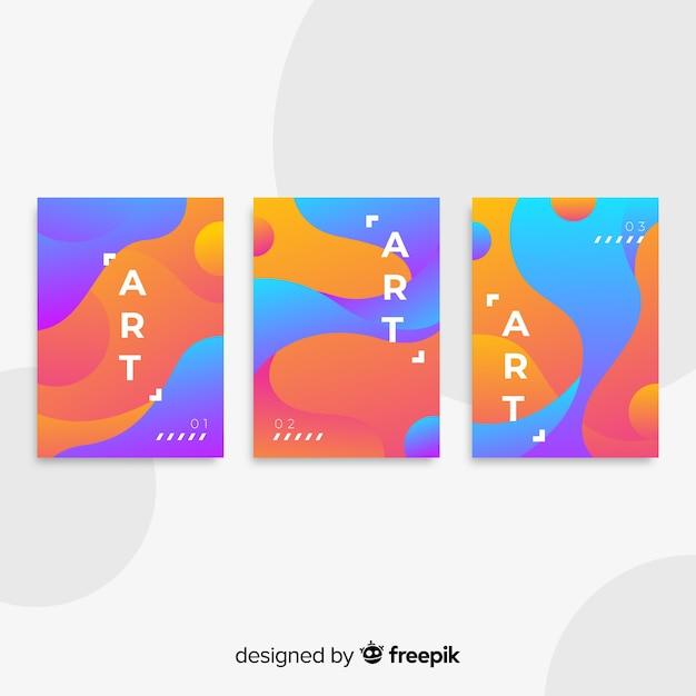 Colección póster formas fluidas vector gratuito