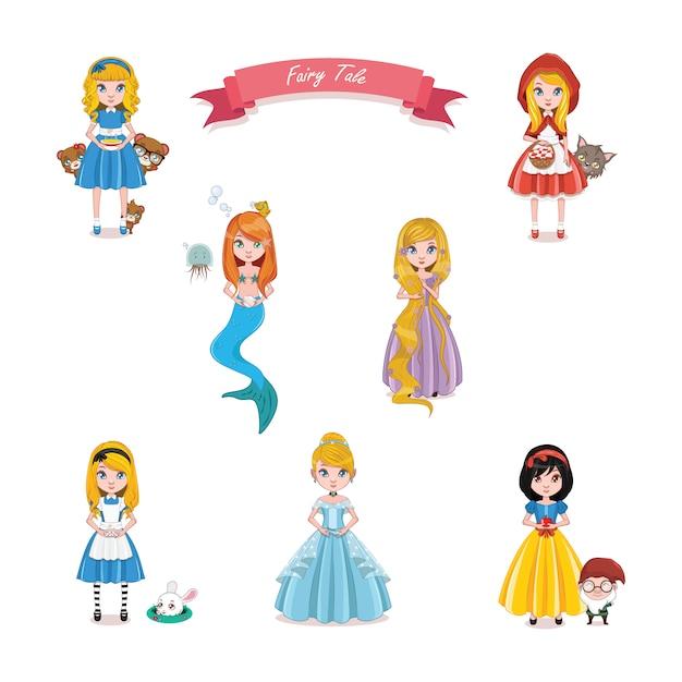 Colección de princesas de cuentos vector gratuito