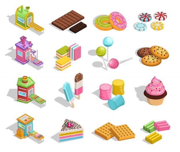 Colección de productos dulces de pastelería vector gratuito