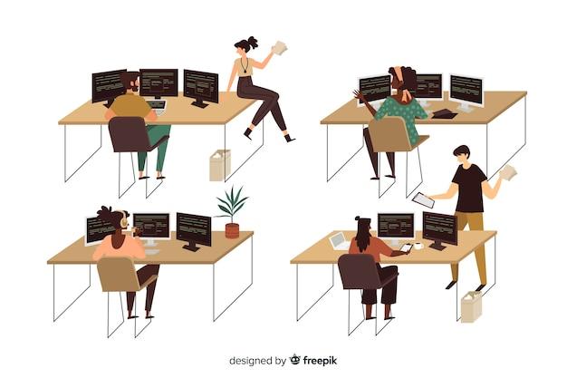 Colección de programadores ilustrados trabajando vector gratuito