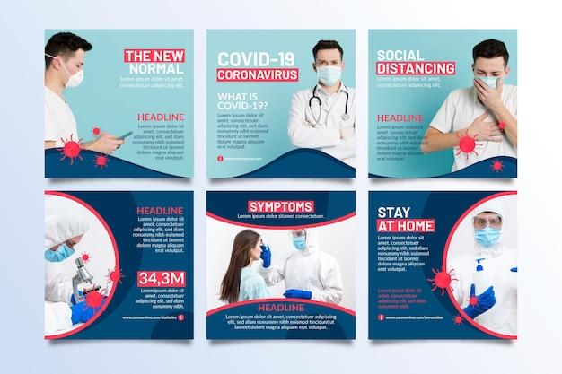 Colección de publicaciones de instagram de coronavirus vector gratuito