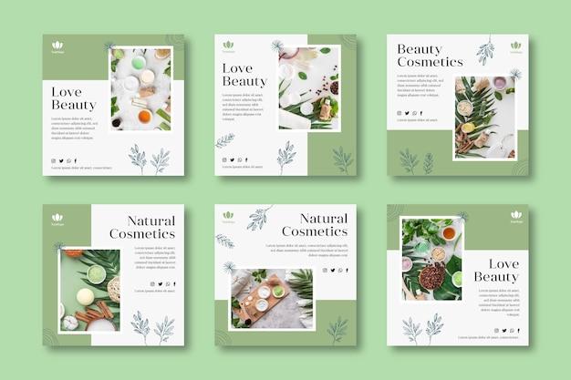 Colección de publicaciones de instagram cosméticas Vector Premium