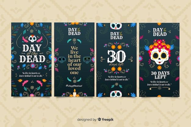 Colección de publicaciones de instagram del día de los muertos vector gratuito