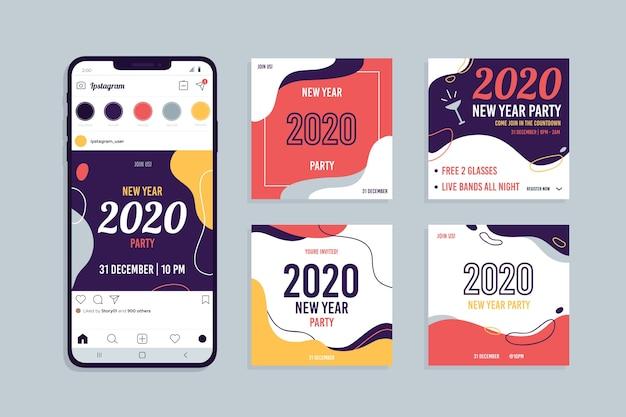 Colección de publicaciones de instagram de fiesta de año nuevo 2020 vector gratuito