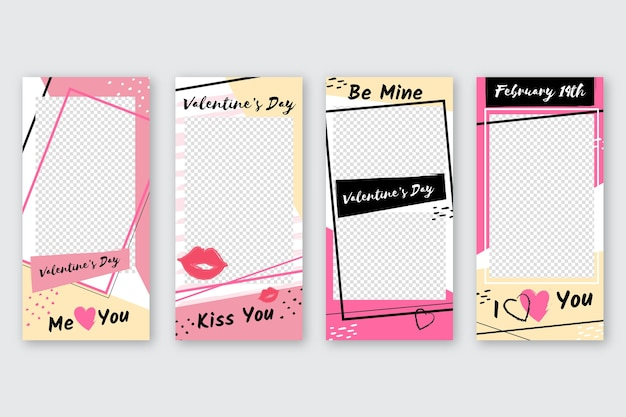 Colección de publicaciones de instagram de san valentín vector gratuito