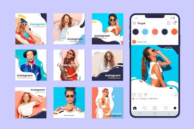 Colección de publicaciones de instagram en teléfono móvil vector gratuito