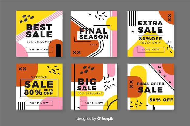 Colección de publicaciones de instagram de venta abstracta colorida vector gratuito