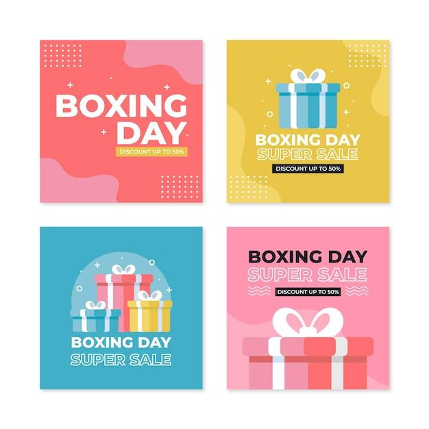 Colección de publicaciones de instagram de venta de boxing day vector gratuito