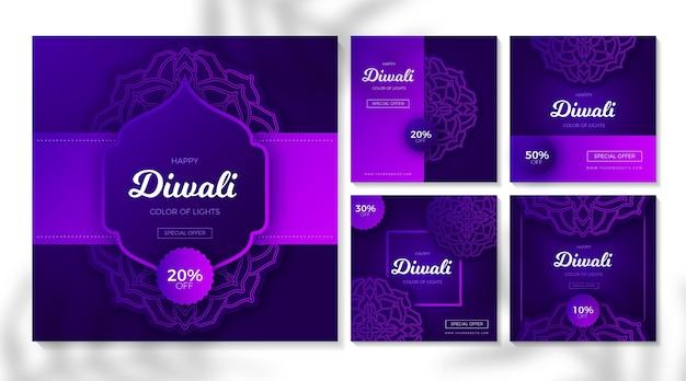 Colección de publicaciones de instagram de venta de diwali vector gratuito