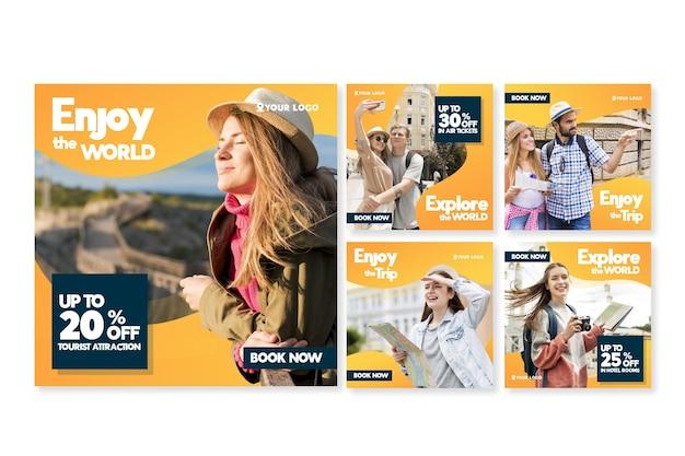 Colección de publicaciones de instagram de venta de viajes vector gratuito