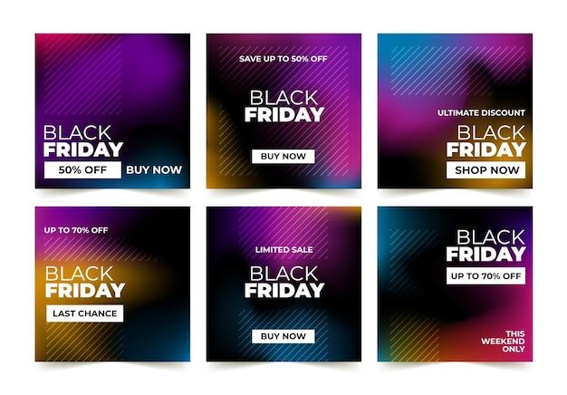 Colección de publicaciones de instagram de viernes negro degradado vector gratuito