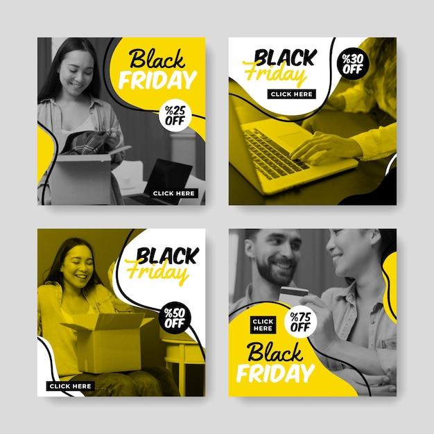 Colección de publicaciones de instagram de viernes negro dibujadas a mano vector gratuito