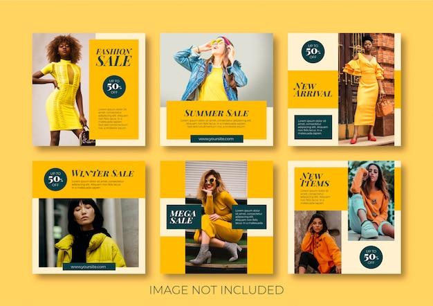 Colección de publicaciones de moda en redes sociales Vector Premium