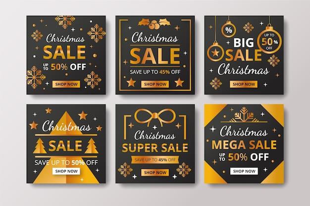 Colección de publicaciones navideñas de instagram vector gratuito