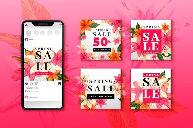 Colección de publicaciones de primavera de instagram vector gratuito